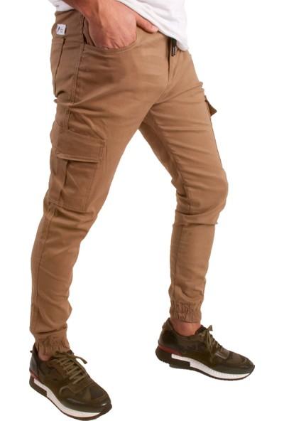 He Brand Bej Renk Erkek Kargo Pantolon