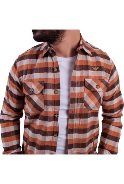 Adirondack Kahve Renk Kareli Kalın Erkek Gömlek