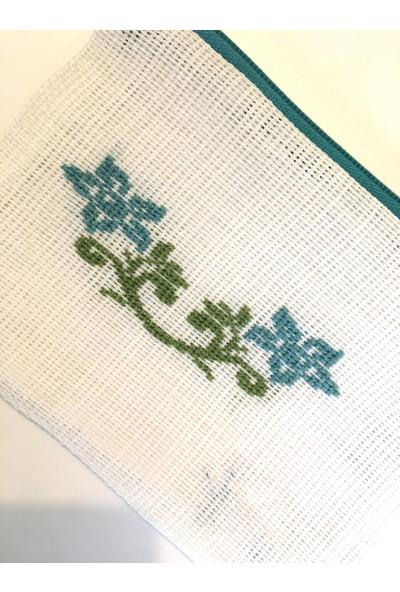 Pafuli El Yapımı Işlemeli Etamin Çanta Beyaz Sarmaşık