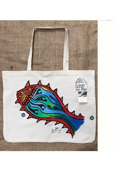 Kalamış Yazmaları Kalıp Baskı El Boyama Plaj Çantası