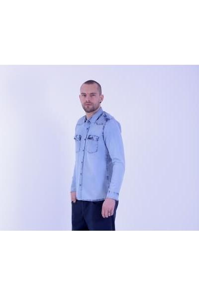 Cazador Light Blue Wash Erkek Uzun Kol Denim Gömlek