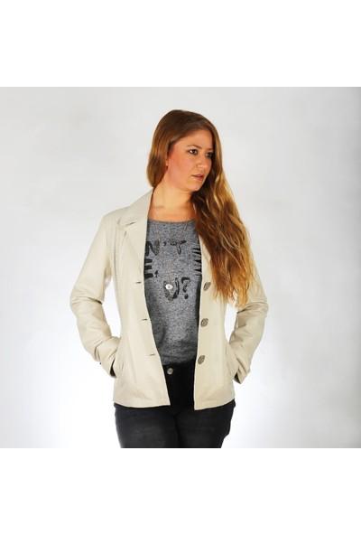 Deda Kadın Bej Deri Ceket K-9-40-L