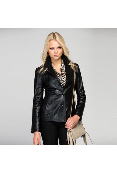 Deda Kadın Siyah Deri Ceket K-9-40-L