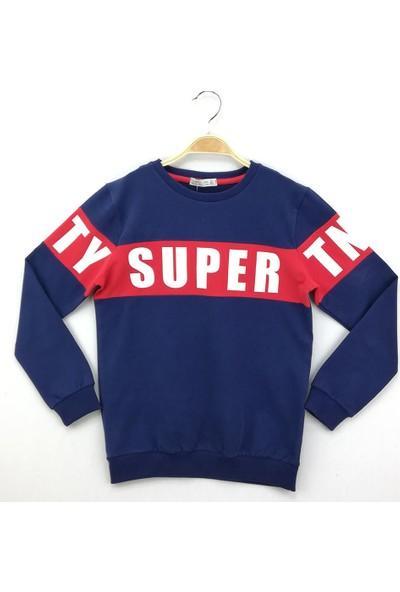 Toontoy Erkek Çocuk Sweatshirt Super Tnty Baskı - Lacivert - 10 Yaş