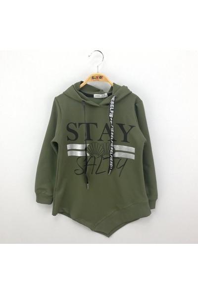 Toontoy Kız Çocuk Sweatshirt Kapşonlu Varak Baskı - Haki - 8 Yaş
