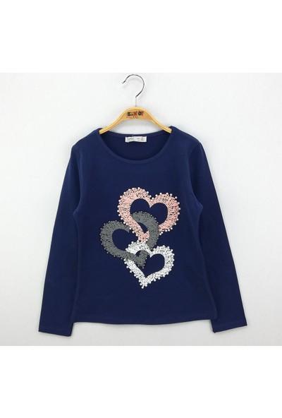 Toontoy Kız Çocuk Sweatshirt İnci Çakma Kalp Baskı - Lacivert - 10 Yaş