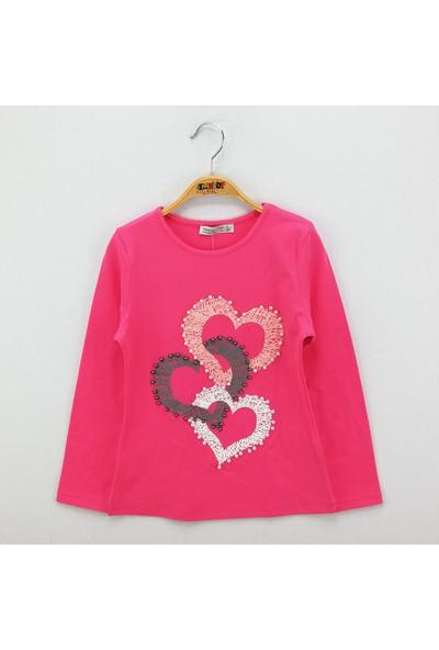Toontoy Kız Çocuk Sweatshirt İnci Çakma Kalp Baskı - Fuşya - 12 Yaş