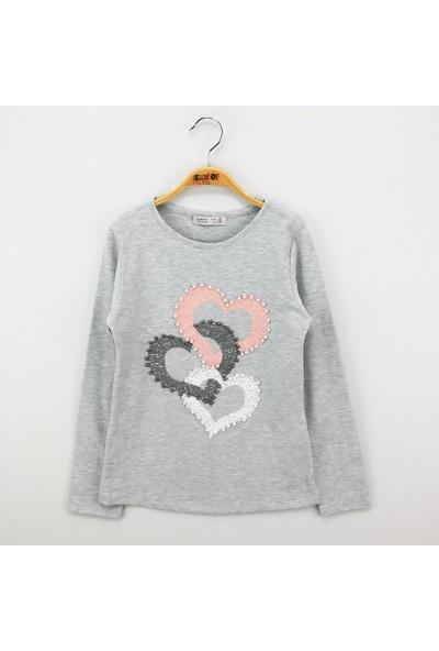 Toontoy Kız Çocuk Sweatshirt İnci Çakma Kalp Baskı - Gri Melanj - 8 Yaş