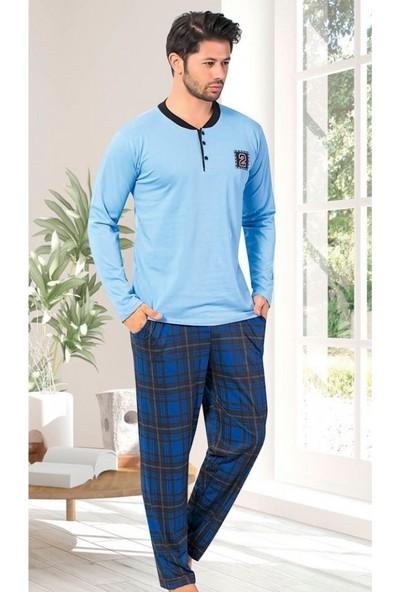 Elit Pamuklu Likralı Mevsimlik Cepli Erkek Pijama Takımı K7030