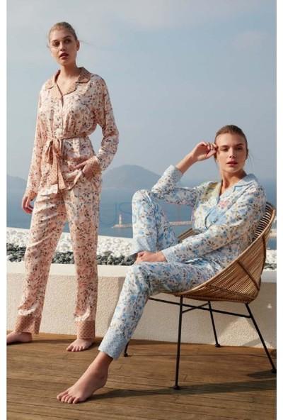 Feyza 3441 Kadın Önden Düğmeli Pijama Takım Bej