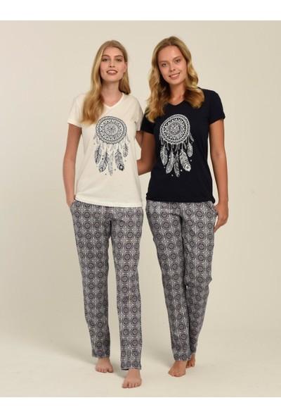 MOD 1341 Kadın Pijama Takımı Ekru