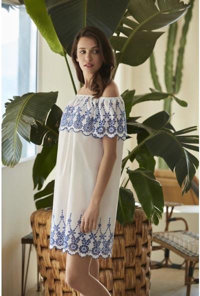 Penye Mood 8544 Kadın Elbise Beyaz