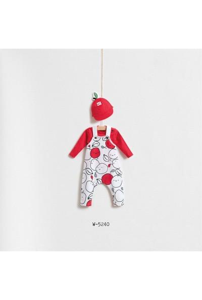Wogi Baby Elmalı 3'Lü Salopet Tulum Şapka Set Wg-5240