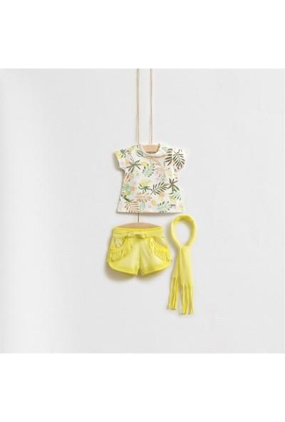 Wogi Baby Yaprak Desenli Fularlı Alt Üst Takım 5273