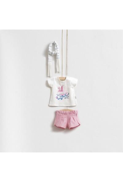 Wogi Baby Pembe Kuş Işlemeli Fularlı Alt Üst Takım 5286