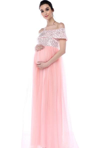 Moda Labio Kadın Pul Payet Tül Hamile Elbisesi Pudra