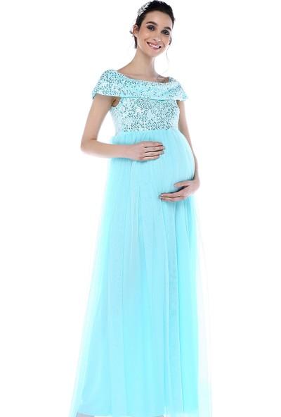 Moda Labio Kadın Pul Payet Tül Hamile Elbisesi Bebe Mavi