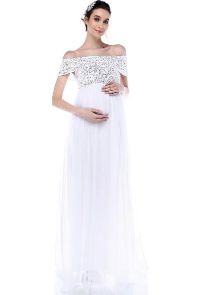 Moda Labio Kadın Pul Payet Tül Hamile Elbisesi Beyaz