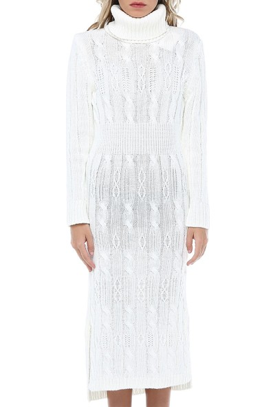 Modkofoni Balıkçı Yaka Saç Örgülü Beyaz Triko Elbise