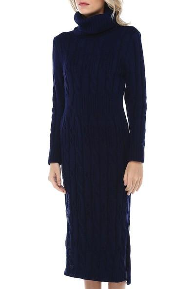 Modkofoni Balıkçı Yaka Saç Örgülü Lacivert Triko Elbise