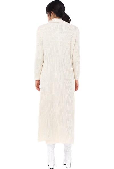 Modkofoni Balıkçı Yaka Uzun Hırkalı Bej Triko Elbise