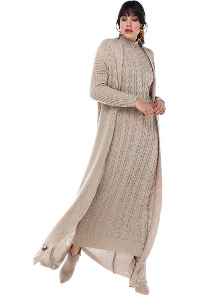 Modkofoni Balıkçı Yaka Uzun Hırkalı Taş Triko Elbise