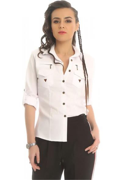 Modkofoni Deri Ve Fermuar Detaylı Beyaz Gömlek