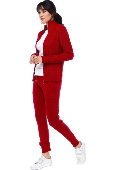 Modkofoni Fermuarlı Saç Örgülü Alt Üst Kırmızı Triko Takım