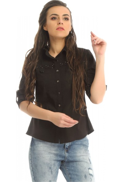 Modkofoni Inci Detaylı Siyah Gömlek