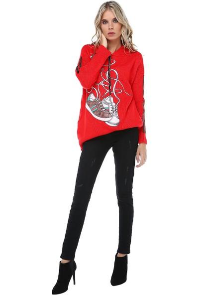 Modkofoni Kapüşonlu Baskılı Kırmızı Triko Bluz