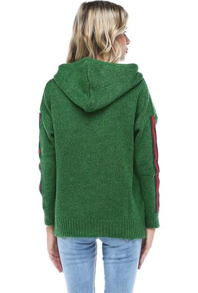 Modkofoni Kapüşonlu Baskılı Yeşil Triko Bluz