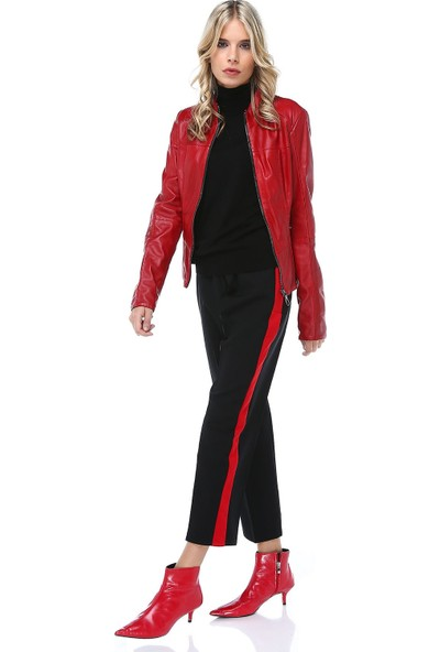 Modkofoni Kırmızı Şeritli Siyah Bilek Pantolon