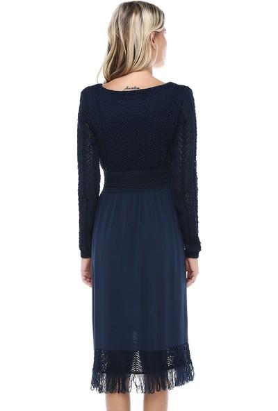 Modkofoni Kuş Gözlü Saçaklı Lacivert Triko Elbise