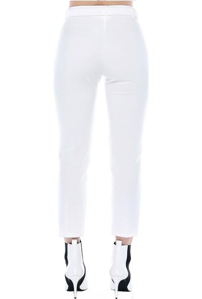 Modkofoni Kuşaklı Beyaz Bilek Pantolon
