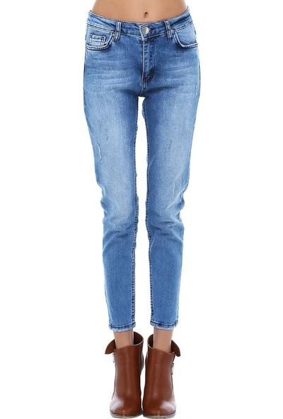 Modkofoni Mavi Denim Fashion Yıkama Bayan Pantolon