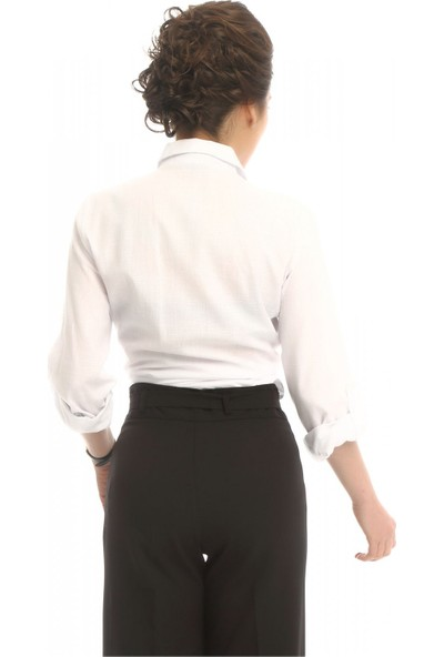 Modkofoni Nakış Detaylı Beyaz Keten Gömlek