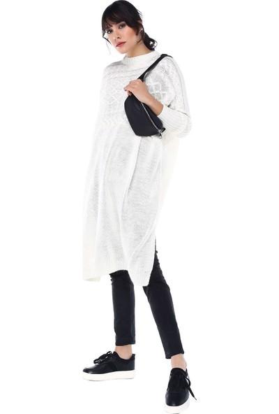 Modkofoni Saç Örgülü Triko Beyaz Panço