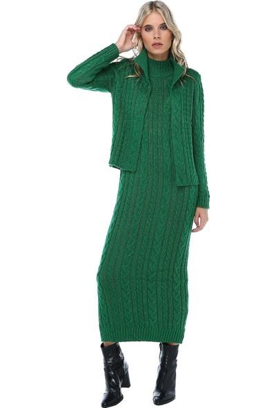 Modkofoni Saç Örgülü Yeşil Triko Takım