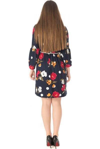 Modkofoni Uzun Büzgü Kol Viskon Lacivert Elbise