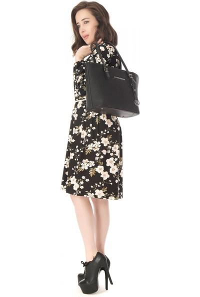 Modkofoni Uzun Büzgü Kol Viskon Siyah Elbise