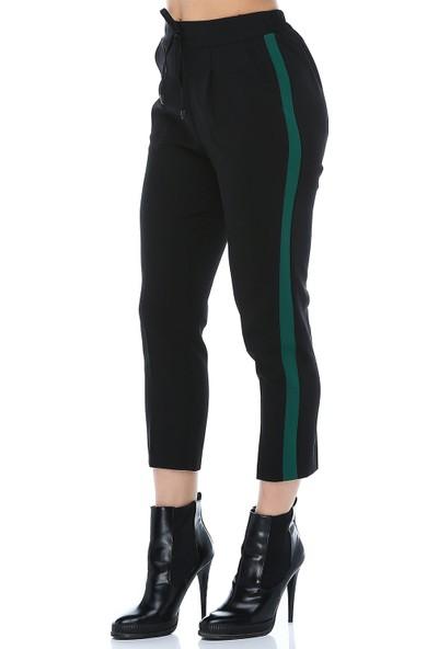 Modkofoni Yeşil Şeritli Siyah Bilek Pantolon