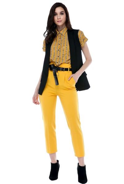 Modkofoni Yüksek Bel Deri Kemerli Sarı Bilek Pantolon