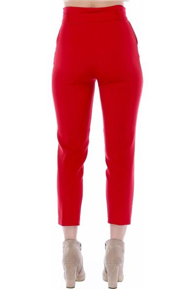 Modkofoni Yüksek Bel Tokalı Kırmızı Bilek Pantolon