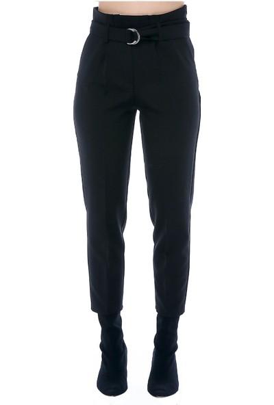 Modkofoni Yüksek Bel Tokalı Siyah Bilek Pantolon