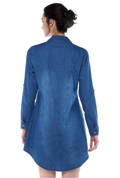 Modkofoni Boncuk Ve Taşlı Yandan Şeritli Koyu Mavi Tunik