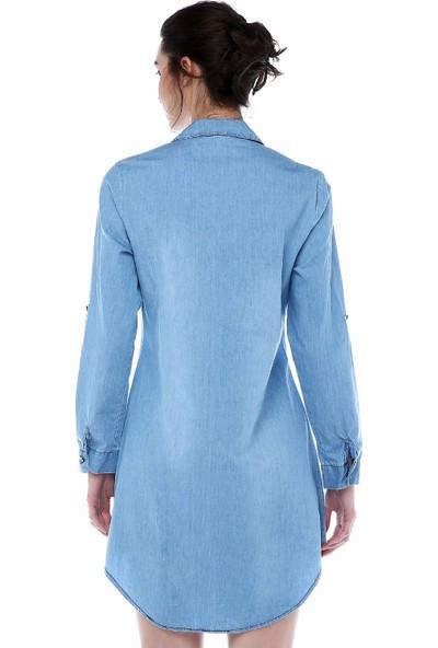 Modkofoni Çift Cepli Önden Şeritli Açık Mavi Tunik