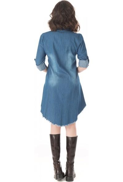 Modkofoni Göğüs Ve Etek Kenarları Püsküllü Koyu Mavi Tunik