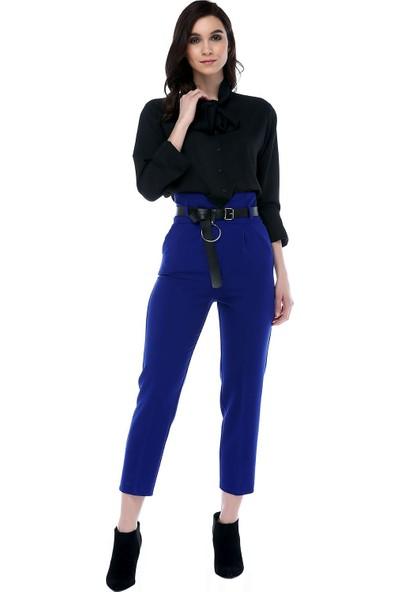 Modkofoni Yüksek Bel Deri Kemerli Saks Mavi Bilek Pantolon