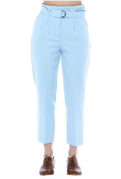 Modkofoni Yüksek Bel Tokalı Bebe Mavi Bilek Pantolon