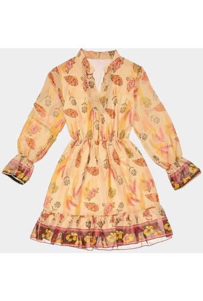 Coten Concept Yaprak Desenli Elbise